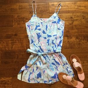 Lilly Pulitzer Deanna Romper INTO THE DEEP Medium